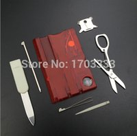 Wholesale Outdoor Camping Beauty Tools Switzerland Card Knife with LED light Multifuntion Card Knife