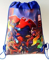 Wholesale Baby Boys Big Hero Nonwoven Drawstring Bags Children s Cartoon Baymax Nonwoven Backpacks School Bag