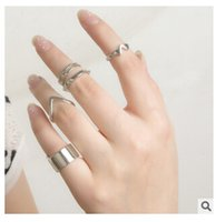 Cheap 5Pcs Set Fashion Top Of Finger Over The Midi Tip Finger Above The Knuckle Open Ring TOP631