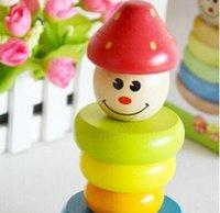 Precio de Polivinílico-Envío libre con estilo de madera de la fresa Torre Vaso Tentetieso Pila rollo de juguetes de bebé Inteligencia bloques de construcción de madera juguetes TY369