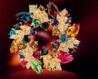 Bohemian Women's Gift Fashion Crystal Rhinestone Gold Plated Chinese Redbud Flower Brooch Pins Jewelry Women Brooches Wedding gemstone brooch Free Shipping