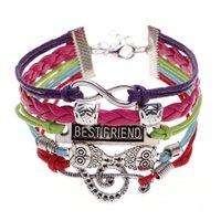 big friendship bracelet - Newest generous unisex bracelet exquisite double fox owl bracelet big music notation bracelet Friendship series BEST FRIEND bracelet