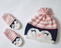 Wholesale Christmas new children knitted hats gloves set autumn winter girl caps owl cartoon cotton top quality polar fleece caps CSH05115