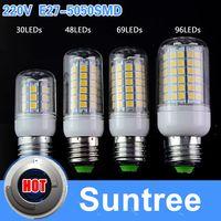 Wholesale Chandeliers Bulb 5w - Suntree E27 Led Light 5050 SMD 220V 27 48 69 96Leds Model Fox - 25W Bulb Lamp E14 lampada led Crystal Chandeliers Lighting
