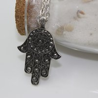 antique jet - 3pcs Antique Jewelry Made of Alloy with Jet Black Czech Stones Lucky Hamsa Hand Necklace