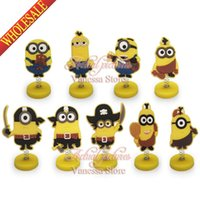 Wholesale 1pcs Minions Despicable me Cartoon Mini Spring dolls PVC Action Figure Finger toys Party Decoration Dolll stands birthday christmas gift