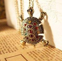 turtle pendant - Big discount Vintage Turtle Necklace Crystal Turtle Pendant Long Necklace Animal Jewelry DHL