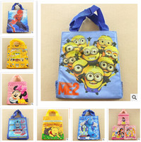 big lunch bags - 16 STYLES Spiderman Cartoon Lunch Bag Despicable Me Shopping Bag big size cm Princess girls handbags despicable me backpacks R0955