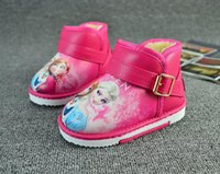 anna boots - 2 Color Girl Frozen princess PU snow boots shoes new Children winter Fashion Lovely Cartoon Elsa Anna pu antiskid Shoes B001
