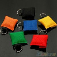 Wholesale Disposable CPR Resuscitator Mask Keychain Key Ring Emergency Face Shield Rescue OPH