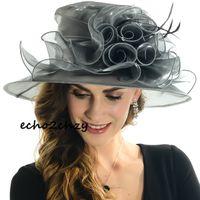 ladies dress hat - Ladies Church Kentucky Derby Hats Wedding Bridal Dress Party Dress Hats Colors Wide Brim Womens Hats Sale Online SD