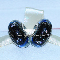 Wholesale Clear Glass Cube Beads - 5pcs 925 Sterling Silver Thread Midnight Blue Effervescence Murano Glass Beads with Clear Cz Fit Pandora European Charm Bracelets