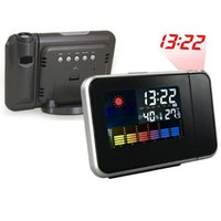 Wholesale Attention Projection Digital Alarm Clock Projector Weather LCD Snooze Display LED Backlight DHL