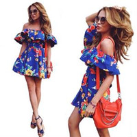 beautiful dresses - Hot Sexy Beautiful Word Shoulder Bandage Dress Fashion Printing Flounced Dress Blue S M L XL B