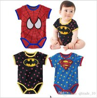 Wholesale 2015 style kid spiderman batman superman jumpsuit baby clothes jumpsuit cotton toddler superhero Bodysuit Onesies boywear gift TOB3539