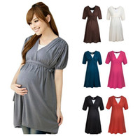 clothes europe - Europe Summer Pregnant Women Dresses Sexy V Neck Maternity Big Girls Half Sleeve Waistbelt Dress Pregnancy Elastic Clothing EMS H3260