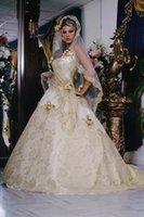 Cheap Arabic Wedding Dresses A-Line Beaded Applique Sweetheart 2015 Wedding Dresses Sleeveless Sweep Train Charming Spring New Beach Bridal Gowns