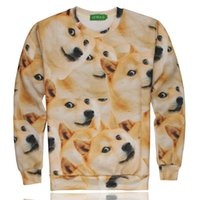 Wholesale 3D Funny puppy head covered with a couple long sleeved sweater doge doge bother God husky dog Shiba sweater jacket