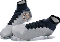 real football boots - 2015 Newest Super Light Cristiano Ronaldo cr7 High Cut soccer football boots shoes cleats Real Carbon Fiber Bottom Metallic Silver White