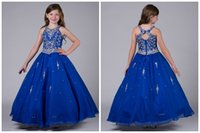 Wholesale Real Image Blue Girls Pageant Dresses Ball Gown Shiny Beaded Crystal Top Cheap Price Crew Collar Organza Floor Length Children Dress