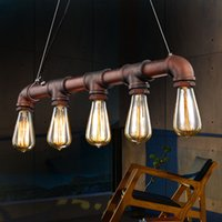 Wholesale Industrial Vintage METAL PIPE Style Pendant Lamp Steampunk Edison ST64 Dimmable LED Long Filament Bulb For Ceiling Light Chandelier E27 Base