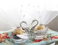 Wholesale 2015 New wedding favors Acrylic Silver Swan Sweet Wedding Gift Jewely Candy box Candy gift box Wedding Favors holders