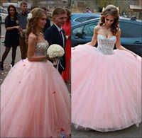 ads pictures - Sparkle Crystals Sweet Dresses Sweetheart Beading Floor Length Corset Back Ball Gowns Pink Quinceanera Dresses New Arrival AD