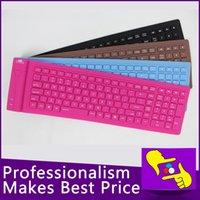 Wholesale-10pcs / lot 107 teclas portátil plegable impermeable flexible suave silicona MINI CABLE teclado USB para Tablet PC