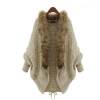 beige knit sweater - 2015 Winter Open Cardigan Poncho Capes Pull Femme Autumn Outwear Tricot Women Knitted Wool Sweater Batwing Sleeve Shrug