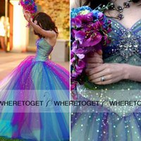 Wholesale Sheer Sparkle Wedding Dress - Colorful Wedding Dresses 2015 Shining Sparkle Crystal Beaded Sequin Floor Length Tulle Wedding Party Quinceanera Gowns Cheap SW032