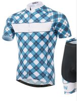 wholesale cycling clothing - summer new grid blue cycling jerseys short sleeve cycling wear packages Moisture absorption perspiration short sleeve cycling clothing free