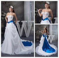 blue and white wedding dress - 2014 New Fashion Royal Blue And White Wedding Dresses With Blue Accents Strapless Backless See Through Sheer Lace Organza Bridal Dress Gowns