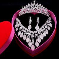 Wholesale 2015 Rhinestone Flowers bridal jewelry Sets Crown Earrings Neckline Pieces Tiaras For Wedding Hair Accessories