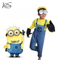 Cheap Wholesale-Despicable Me Minion Costume Mini Corps Minion Cosplay Clothing for 2-10Y boy girl Carnival Minion Disfraces WITHOUT GLASSES
