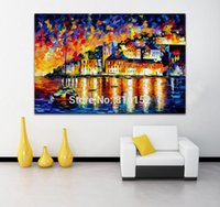 architecture water - Palette Knife Oil Painting Water City Architecture Castle Cityscape Mural Art Picture Canvas Prints Home Living Hotel Office Wall Decor