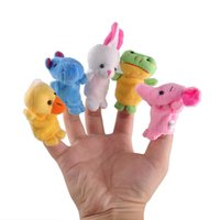 Wholesale Baby Plush Dolls Hand Puppet Baby Solft Plush Velour Animal Finger Puppet Lovely Cartoon Animal Finger Puppet New Arrival