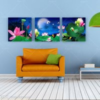 beautiful moonlight - Art Picture Painting Canvas Wall Beautiful Lotus Flower Moonlight Landscape Home Decorative Print On Canvas No Frame