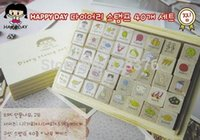 Wholesale DHL sets Freeshipping New happyday Wooden Diary stamp Set Wood Box DIY funny work set