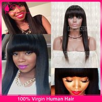malaysian lace wigs - Light Yaki Full Lace Wigs Human Hair Lace Front Wig With Full Bangs Malaysian Virgin Hair Yaki Straight Human Wigs For Black Women