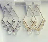Cheap gold*silver square diamond drops lady;s earings ( (jennifer)