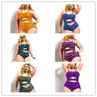 alluring designs - New Beach Alluring Halter Plus Size Fringe Design Multicolor Printed High Waisted One PieceSet For Women Bathing Suit Swimsuit Swimwear