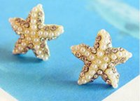 Wholesale Starfish Pearl Stud Earrings - Pearl Style Starfish pentagon EAR STUD EARRING for women jewelry!party ear studs!
