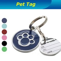 Wholesale Stainless Steel Pet Id Tags Round Paw Dog Paw Style Dog Name Dog Necklace Tag Pets Identity Card For Pets Fashion Key Chain