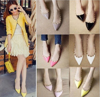 lady leisure shoes - 2015 Spring Colors Europen Flat Heel Lady Women Pointed Toe Rivet Flats PU Leather Shoes Dress Work Leisure Flats Shoes CN35 K3338