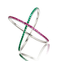 Wholesale US Hot Sale Sterling Silver Green Red Gemstones Iced Out Wedding X Ring Silver Cross Ring In Lucky Sonny Store