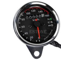 Wholesale Universal Motorcycle Dual Odometer KMH Speedometer Gauge LED Backlight Signal