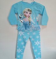night shirts - Elsa Anna Girl s Night Wear Pajamas Autumn Long Sleeve Cotton Tees T Shirts Snowflake Trousers Set Home Wear Outfits J2563