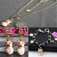 Wholesale Betsey Johnson Flying Pig Heart Black Cord Golden Bracelet necklace earrings