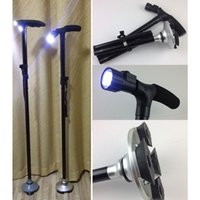 Cheap 1PC Carbon Stick Nordic Walking Ultra-light Handle Folding Cane with Built-in Light Walking Magic Fold Trusty