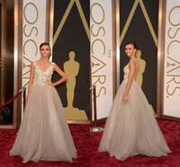 A-Line ah fashion - Sheer Neck A Line Celebrity Dresses Oscars Red Carpet Dresses With Beads Appliques Tulle Real Image Formal Evening Gowns AH